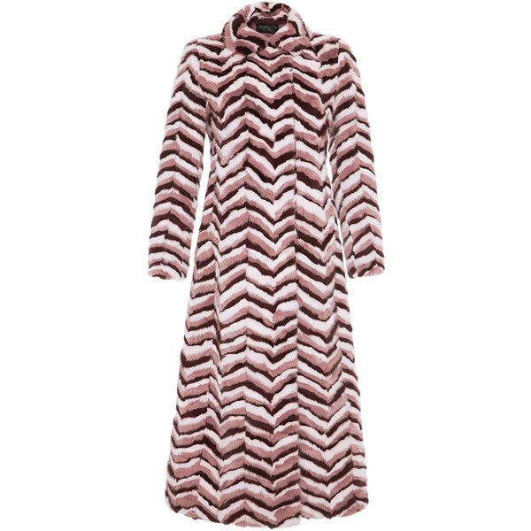 Giambattista Valli     Long Chevron Mink Coat ($7,200) ❤ liked on Polyvore featuring outerwear, coats, pink, giambattista valli, red mink coat, mink coat, long mink coat and long pink coat