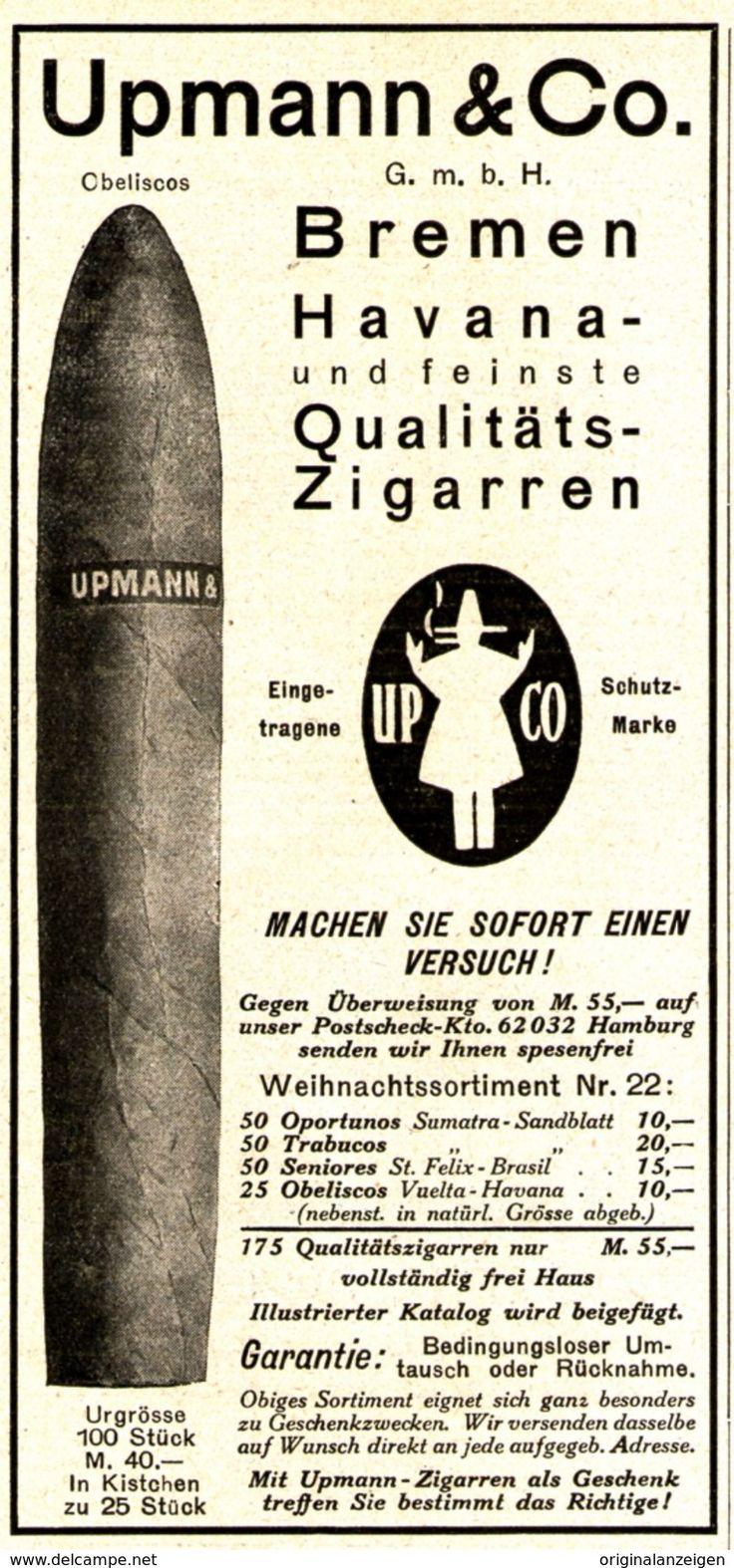 Werbung - Original-Werbung/Anzeige 1925 - HAVANA & QUALITÄTS - ZIGARREN / UPMANN BREMEN - ca. 65 X 150 mm
