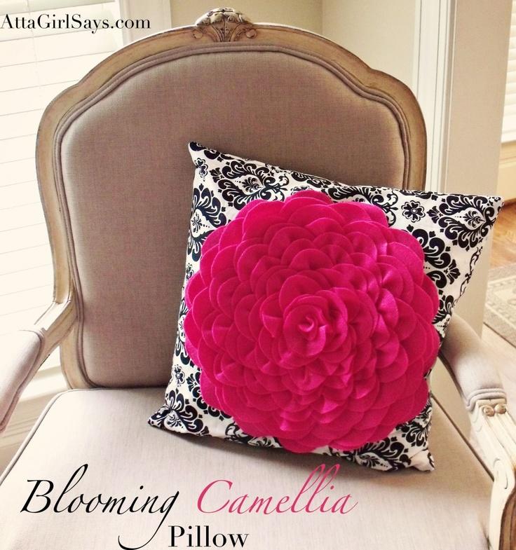 Black and White Pillow with Fushia Flower