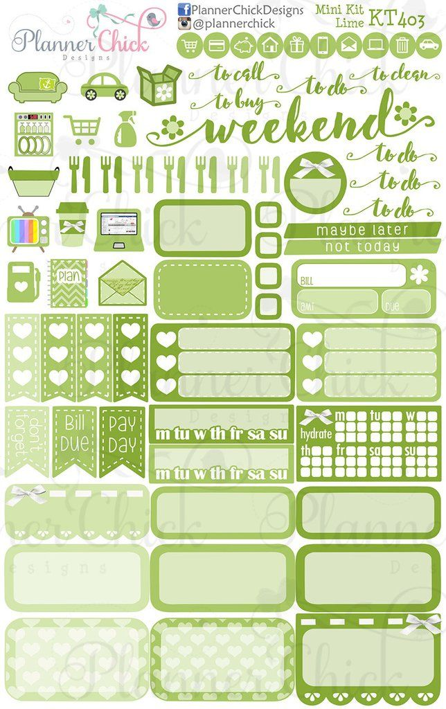 Beautiful Lime Mini Kit u PlannerChickDesigns