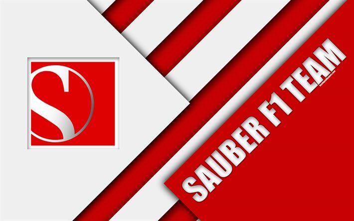 Download wallpapers Sauber F1 Team, Alfa Romeo, Hinwil, Switzerland, 4k, Formula 1, emblem, material design, white red abstraction, Sauber logo, season 2018, F1 race, Sauber Motorsport AG