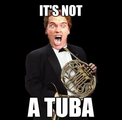 french horn memes   tuba french horn lol meme arnold schwarzenegger kindergarten cop