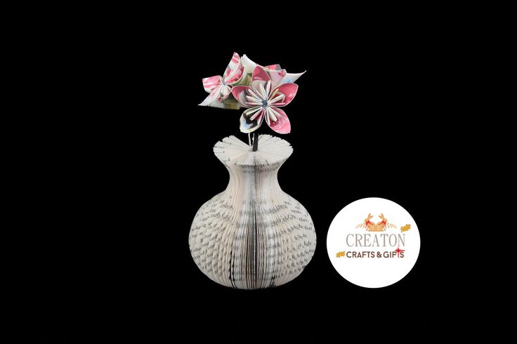 Mini Book Art Vase - Origami Kusudama Flowers - Mothers day - 1st Wedding Anniversary - 4th Wedding Anniversary - unique - unusual - Gift by CreatonCrafts on Etsy