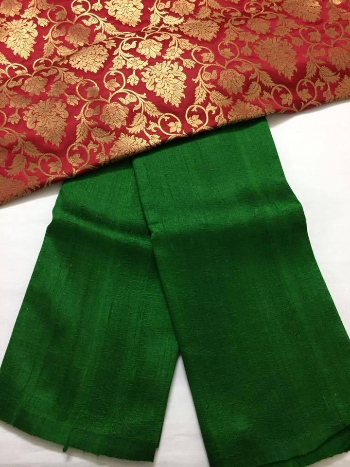 1e01b2b44f644 Pure raw silk saree with banarasi brocade blouse