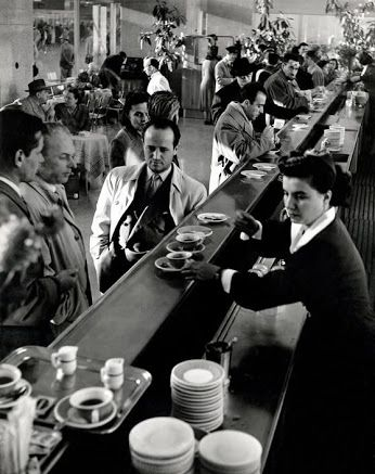 Herbert List, ITALY. Rome. Termini station. 1950. The snackbar, 1st and 2nd class. -- Herbert List