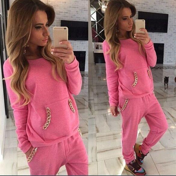 New Women Fashion Casual Pullover Sport Sweatshirt Hoodie Pants Tracksuit Set