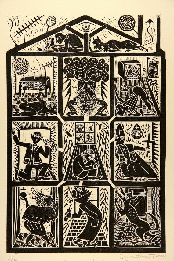 'Paranoia House'  Linocut By Jay Luttman-Johnson http://twitterme.net like it online ecommerce plus-we sell everything