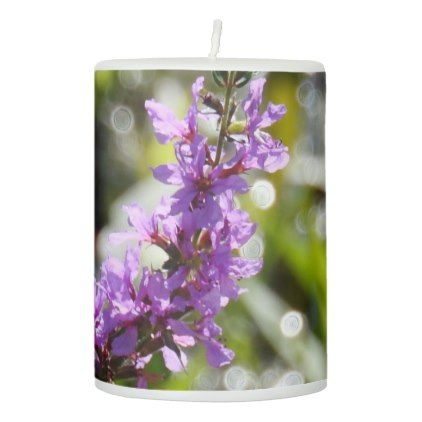 Purple Wildflower w/Sparkling Background Pillar Candle - purple floral style gifts flower flowers diy customize unique