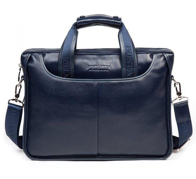 Genuine Leather Briefcase Crossbody Shoulder Laptop Messenger Bag for Men