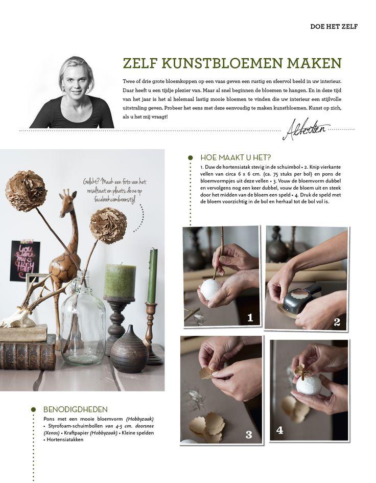 Zelf kunstbloemen maken Making your own artificial flowers http://www.woonstijl.nl/hobby/decoratie/zelf-kunstbloemen-maken_181/