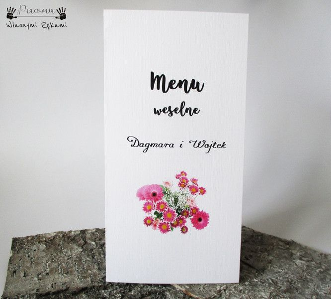 Menu BIAŁE z kwiatami, Ślub, Chrzest, Komunia - Wlasnymi-Rekami - Zaproszenia ślubne, menu weselne z mowtyem kwiatów, wedding menu