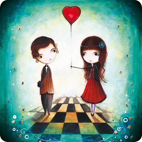 "Jehanne Weyman carte postale carrée (14 cm) ""Le ballon coeur"""
