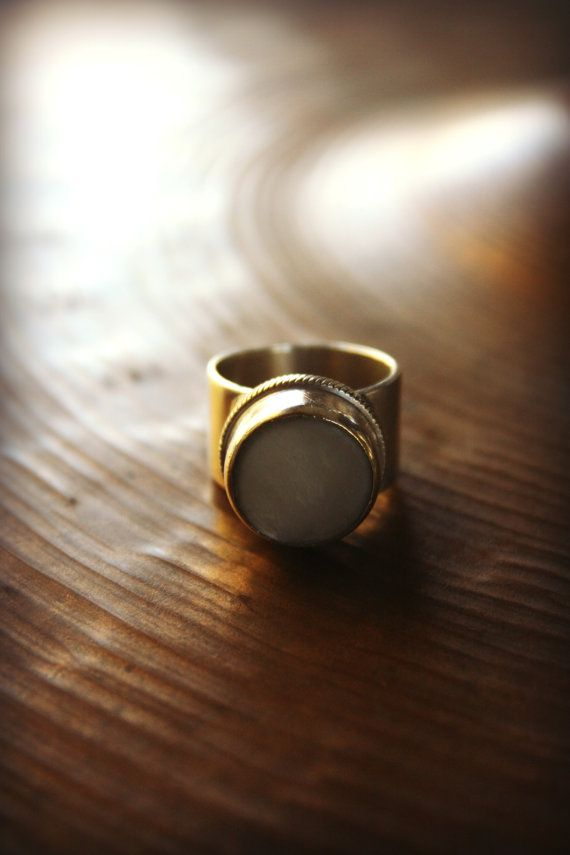 recycled trumpet finger button mother of pearl ring! Yay! recycled musical instrument jewelry!