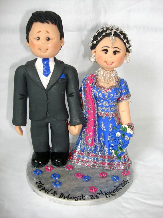 Items Similar To Personalised Asian Indian Sikh Hindu Pakistani Muslim  Saree Sari Bride U0026 Groom Ethnic Wedding Cake Topper On Etsy