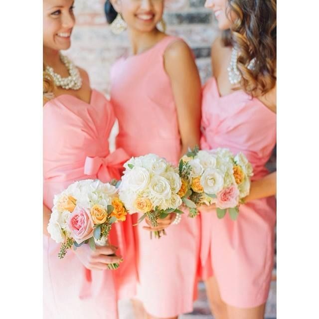 Beautiful coral bridesmaid dresses by Frill Clothing! Would definitely have to get them made tan or brown.