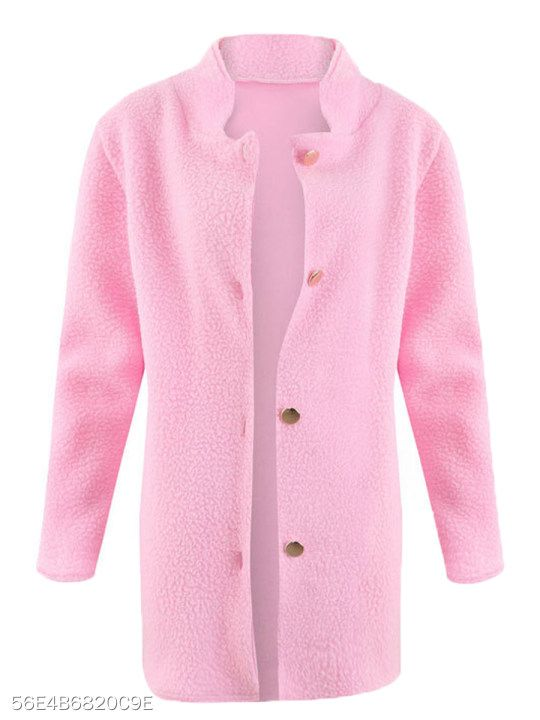High Neck Single Breasted Plain Long Sleeve Coats in 2019  1a960f443