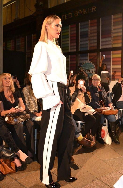 Harvey Nichols Leeds AW13 fashion show. Alexander McQueen shirt and trousers, Saint Laurent shoes   angelinthenorth.com