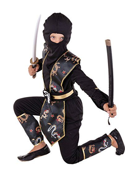 Dragon Ninja Kostum Kinder Gold Schwarz Halloween Karneval Gr 110