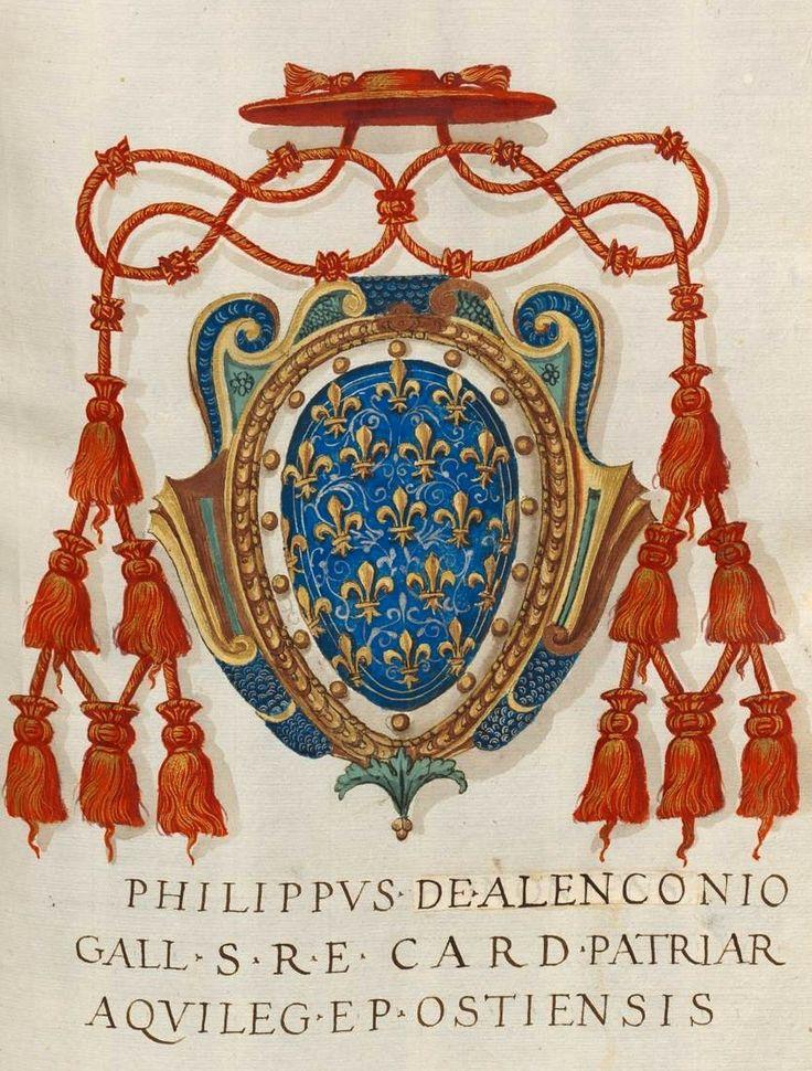«Insignia pontificum Romanorum et cardinalium II. Insignia ab Urbano VI ad Robertum de Nobilibus cardinalem», [S.l.] Italien, Mitte 16. Jh. [BSB Cod.icon. 267] -- f° 3r: Coat-of-arms of Cardinal Philippe II of Alençon (French, 1339-1397) -- The bordure should be red.