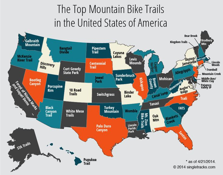 The top mountain bike trails in the US, state by state! #MountainBike #BikeTrail #Cycle
