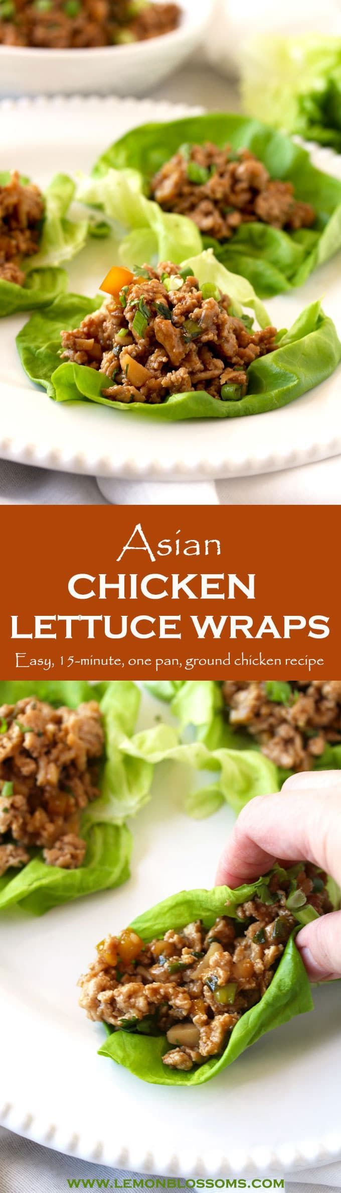 This Chicken Lettuce Wrap recipe only takes 15 minutes to make. Made with ground chicken, ginger, garlic and tossed in a delicious 3 ingredients sauce! Perfect to serve as an appetizer, lunch or dinner. This easy recipe is one your family and friends will love! #lettucewraps #Asian #chicken via @lmnblossoms