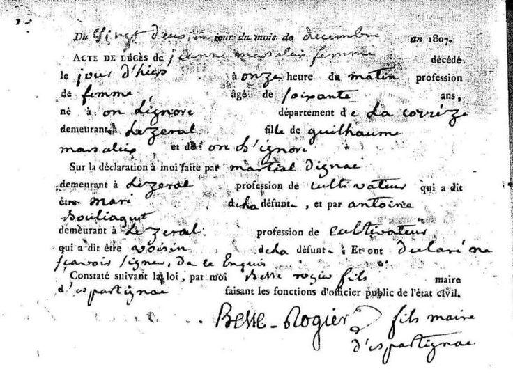 Acte de décès, 1807, Espartignac (Corrèze) | AD 19 - vue 81. Un acte très, très complet !