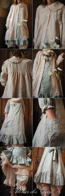 mlle clara veste rose en lin robe en lin celadon uni existe aussi