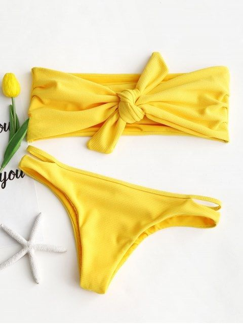 133b4c4185320 Shop for [42% OFF] 2018 Ribbed Knot Bandeau Bikini Set in YELLOW L of  Bikinis and check 10000+ hottest styles at ZAFUL.