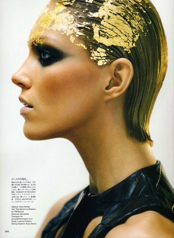 Vogue Japan Model: Anja Rubik Photographer: Nathaniel Goldberg Make-up by: Diane Kendall Beauty Editorial The Golden Age Gold Leaf Hair Acce...