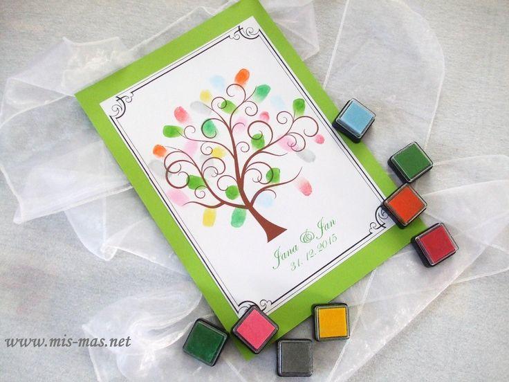 svatba, svatební kniha hostů, strom, obtisky, barevné otisky, netradiční