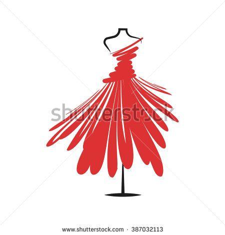 a dress red mannequin illustration