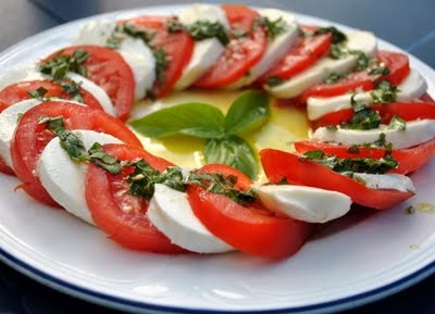 Tomato-mozarella salad- fresh basil from my garden, tomato from my garden, fresh mozzarella and balsamic vinegar, salt, pepper, and EVOO - doesn't get any better!