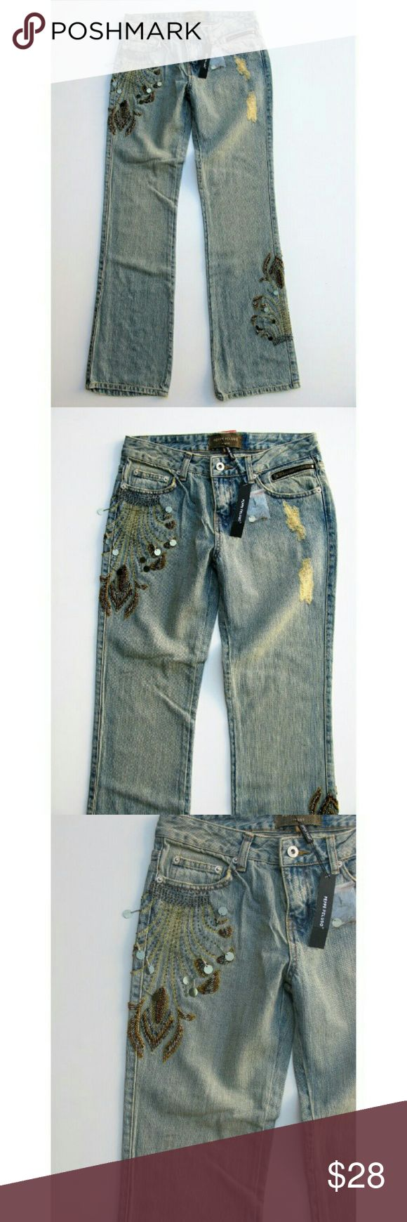 Peppe Peluso Beaded Distressed Boot Cut Jeans NWT Factory Distressed, Sequin Detail, 6 Pocket Styling, Notched Back Pockets, Medium Light Wash -- rubyandsofia.com for more info -- New with Tags -- Waist 14.5 -- Length 32 -- Hips 18 -- Rise 8.5 -- 63/37 Ramie/Cotton Peppe Peluso Jeans Boot Cut