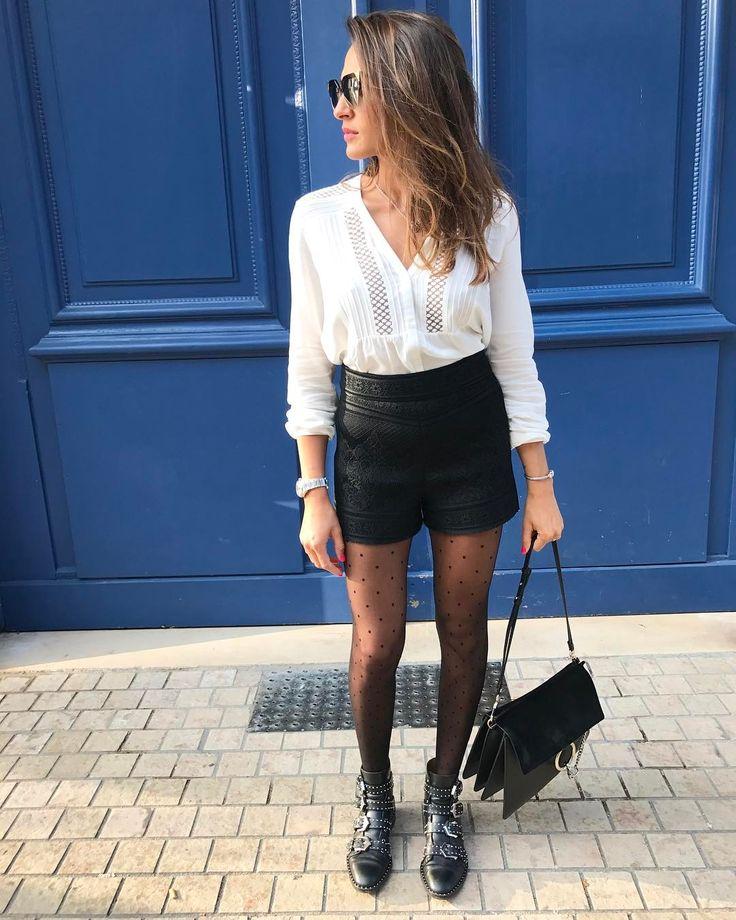 "1,795 Likes, 72 Comments - Yasmine Zeroc (@yasmine.zeroc) on Instagram: ""✖️✖️✖️week-end ✖️✖️✖️ • • • • •short et blouse @majeofficiel •collant @calzedonia •botte…"""