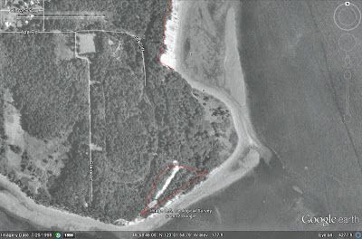 Reading the Washington Landscape: Aerials of the Lily Point Landslide 1998  The Google Earth image of the slide from 1998 shows most of the slide is now tree covered nearly 40 years after the bare expanse of the slide area visible in the 1961 image.  Point Roberts residences reported hearing a loud noise from Lily Point area and seeing dust rise up above the forest in 1999. The slide is still wooded, but comparison with the 1998 image shows that the slide area has greatly expanded.