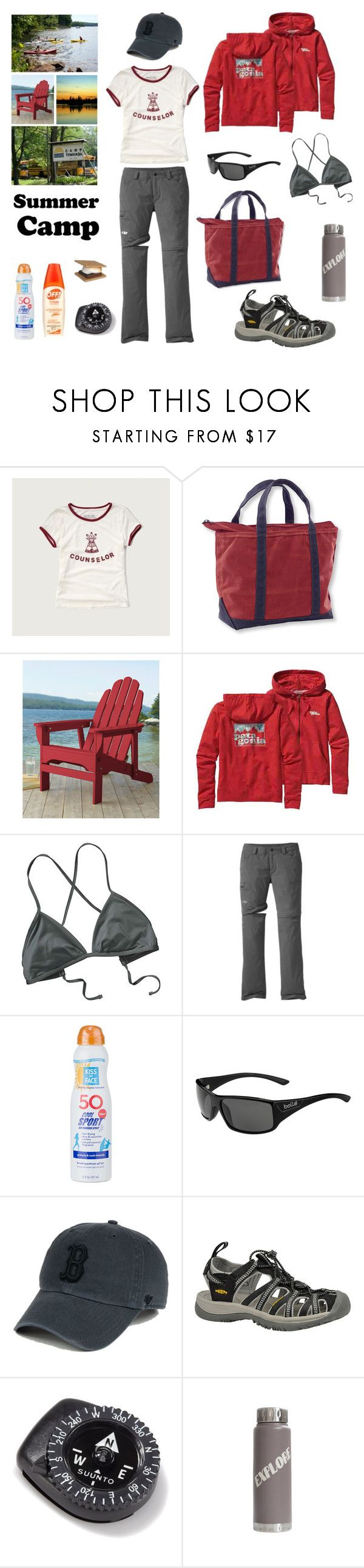 """""""Summer Camp"""" by jhosszu-i ❤ liked on Polyvore featuring Abercrombie & Fitch, L.L.Bean, Patagonia, Outdoor Research, Kiss My Face, Bolle, '47 Brand, Keen Footwear, Suunto and summercamp"""