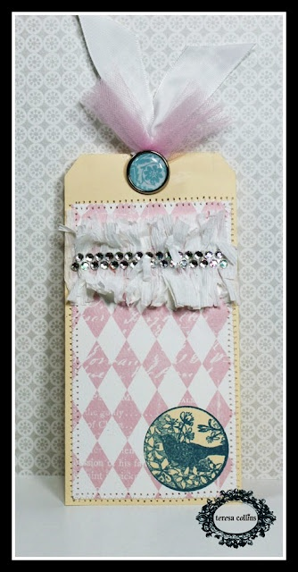 Teresa Collins - Sweet Afternoon. Tag by DT Member Sesil CratinTeresa Collins, Design Team, Crafts Ideas, Sesil Cratin, Collins Design, Sweets Afternoon, Moo Val Tags, Retreat Ideas, Members Sesil