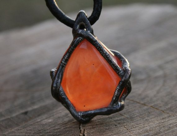 CARNELIAN pendant carnelian necklace by Blacksmithworkshop on Etsy