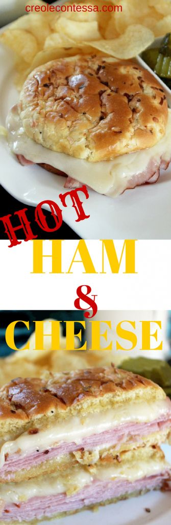 Hot Ham and Cheese Sandwiches-Creole Contessa The Dairy Good Cookbook is created by America's 47,000 dairy farm families #DairyCookbook #bh #ad
