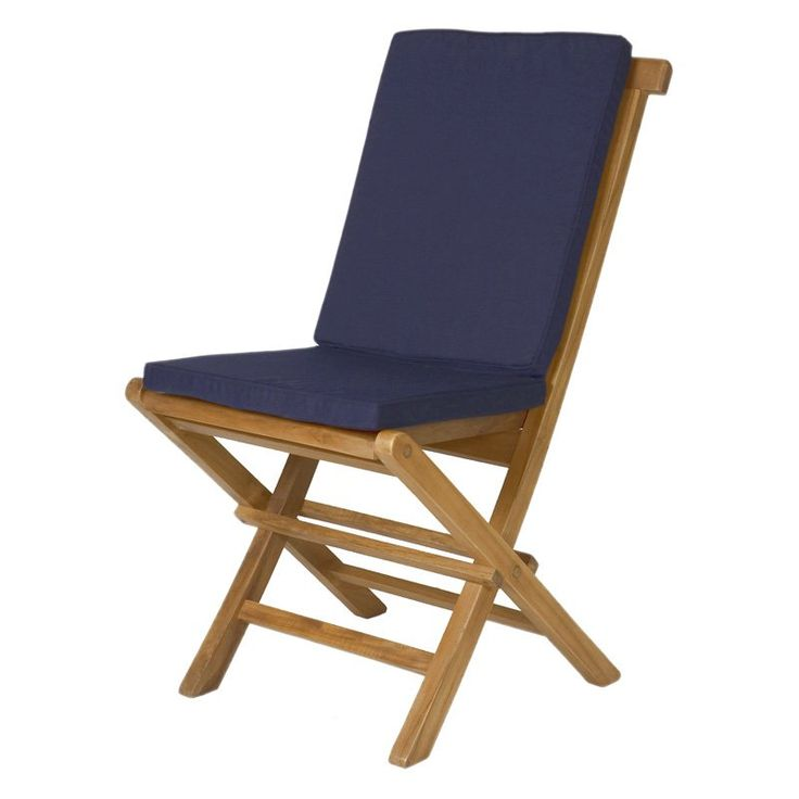 All Things Cedar 2 Piece Hinged Seat and Back Folding Chair Outdoor Cushions Set Blue - TC19BLUE-2