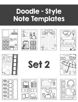 editable doodle note templates bundle ela pinterest notes
