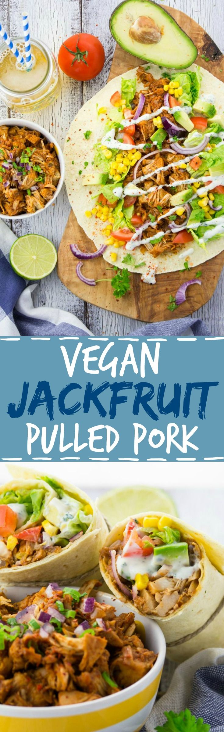 This jackfruit vegan pulled pork wrap with avocado is insanely delicious and comes together in only half an hour.