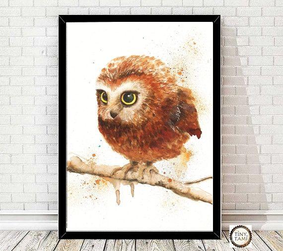 Eule +Owl+Print+von+Aquarell++von+TinyTami+auf+DaWanda.com