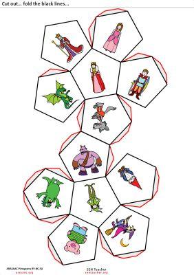 Motricidad y escritura creativa Docecaedro recortable para trabajar los cuentos