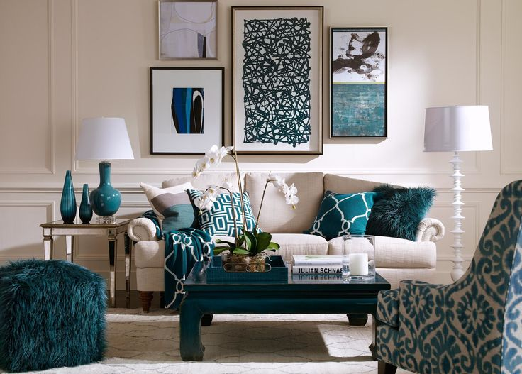 Living room gallery wall adds touches of color to your space.