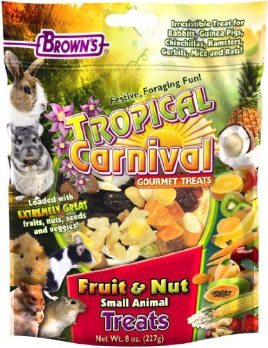 No matter what kind of super spiffy pet products you need, we've got you covered.  Here we have: some yummy fruit and nut treats for bunny, chinchilla or other small buddy!
