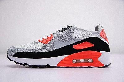 quite nice b7817 3670d Mens Womens Nike Air Max 90 Ultra 2 0 Flyknit Infrared Grey Reddish Orange  White