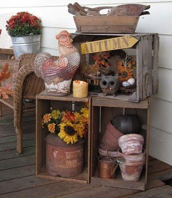 Fall porch decor-love the boxes-could replace bench with boxes in fall