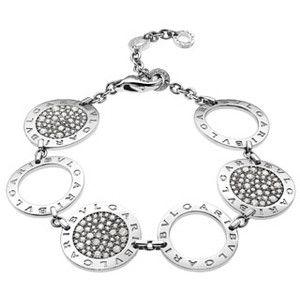 bvlgari white gold pave diamond and white gold circle bracelet white gold adjustable bracelet with 3 large pave diamond circles and 3 white gold circles
