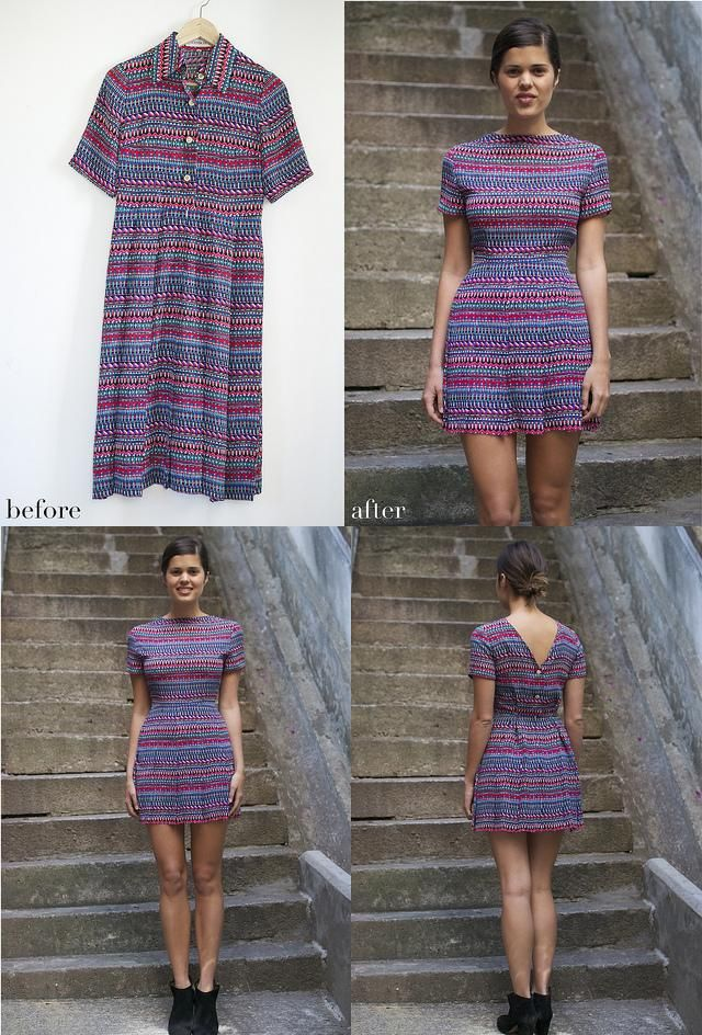 DIY refashion the button down dress to buttoned back dress! So fabulous! MUST do this ASAP A Goodwill trip is much needed.